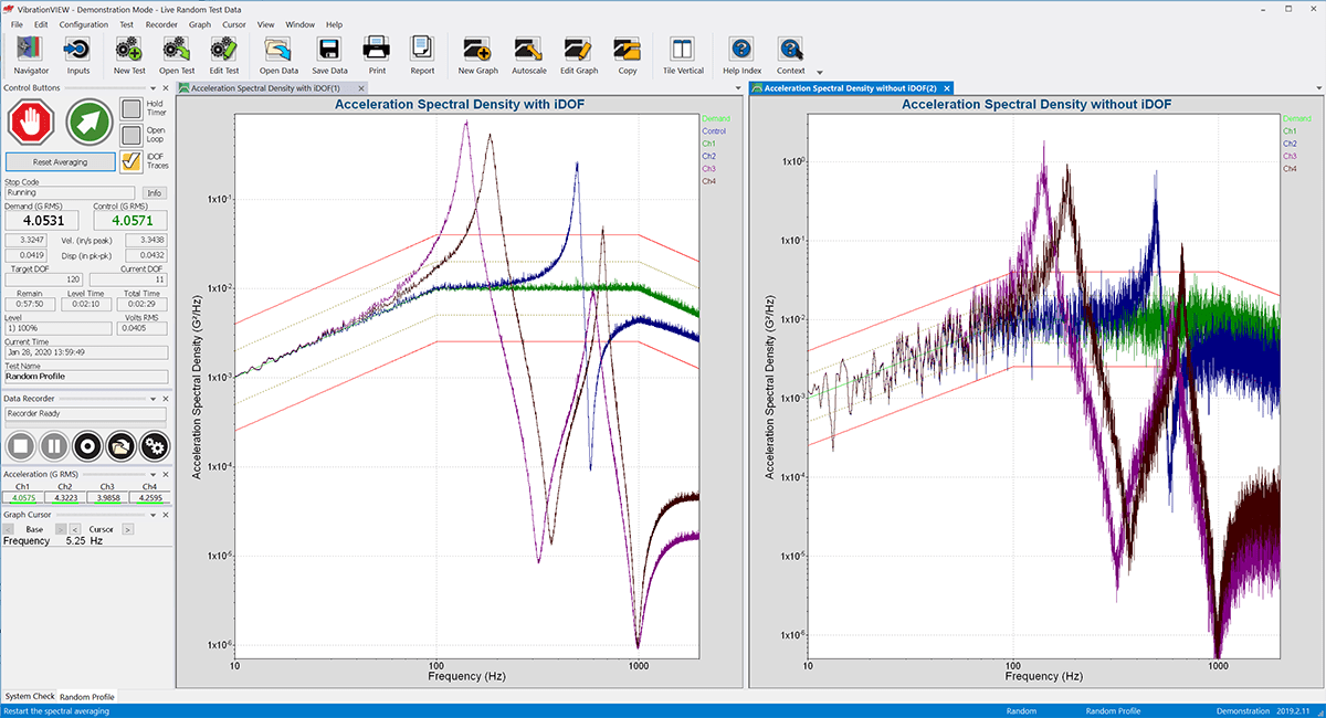 VibrationVIEW screenshot showing Acceleration Spectral Density with and without iDOF