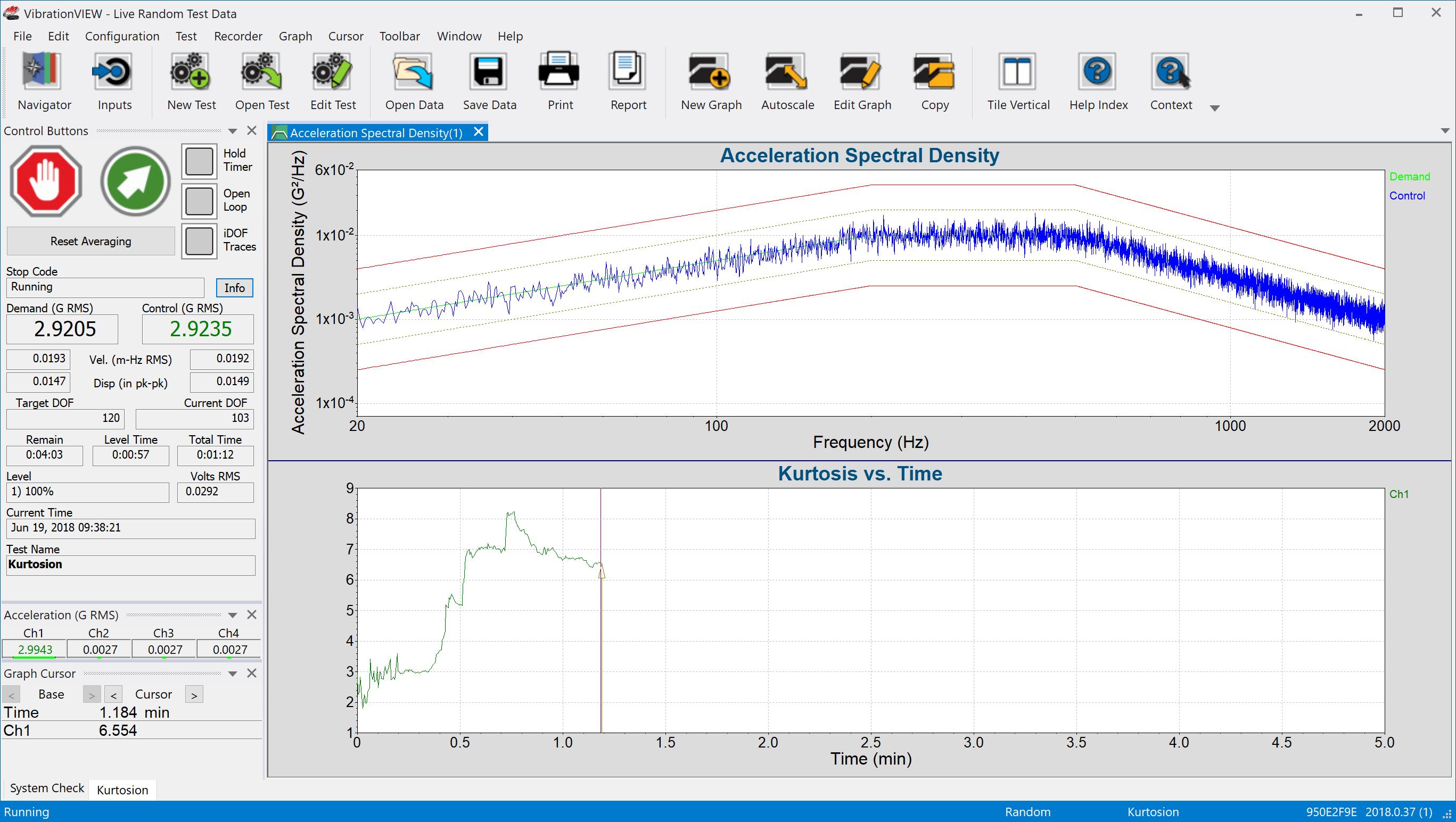 Kurtosion VibrationVIEW screenshot