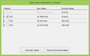 'Save new calibration values?' screen