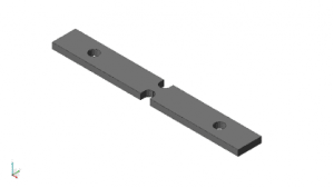 VRC standardized 6016- T651 aluminum notched-beam specimen (nominally 4 x 0.5 x 0.125 inch) fabricated in quantity to study fatigue. In use, one hole mounts beam to shaker, while other mounts standard tip mass. Intended fatigue failure area is between symmetric round-end notches.