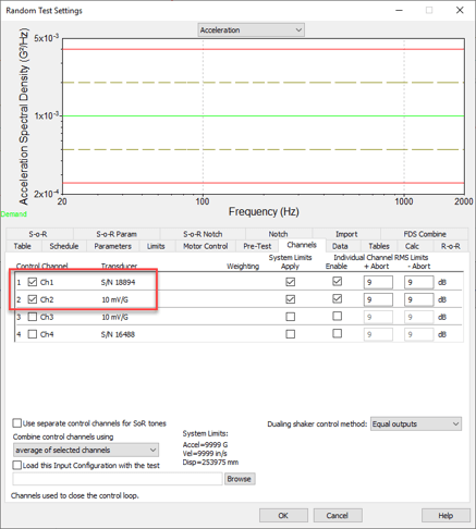 Random test settings 'Channels' tab in VibrationVIEW