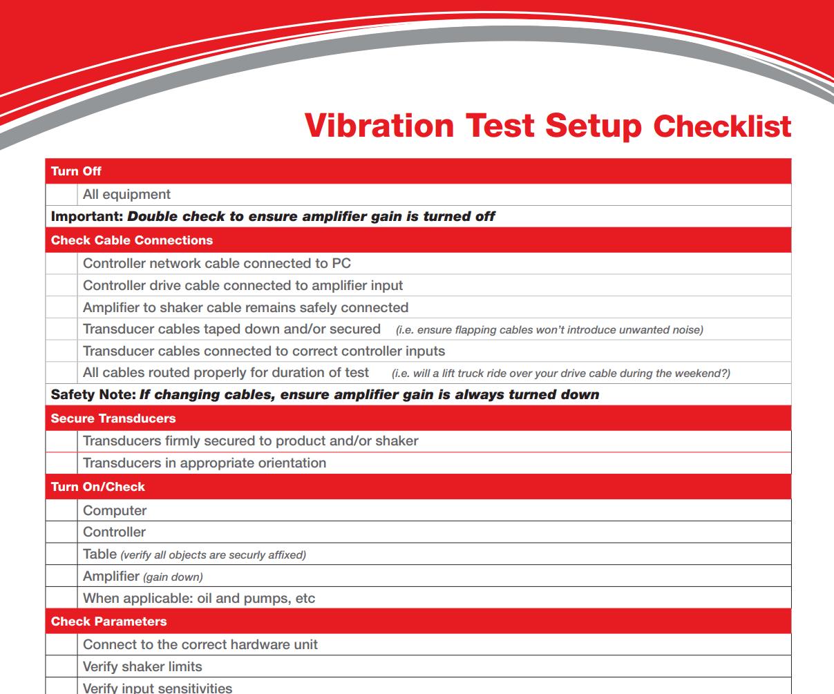 Vibration test setup checklist