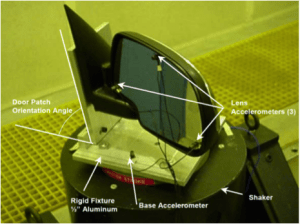 car side mirror vibration testing setup
