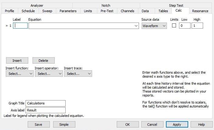 Calc tab in test settings