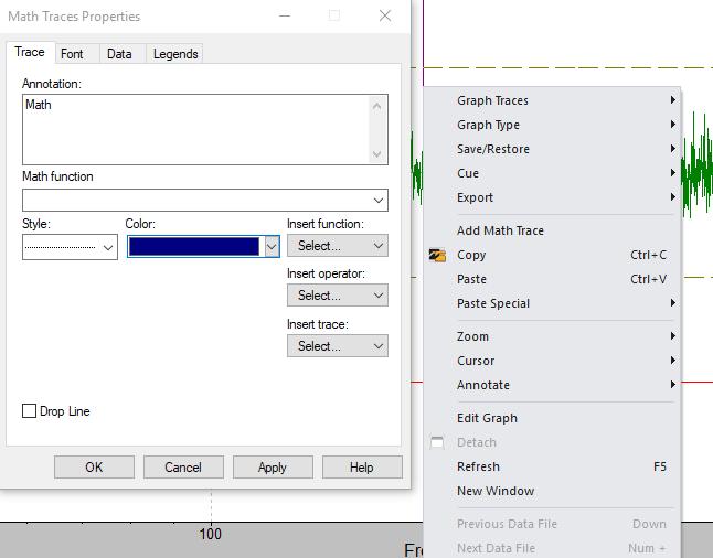 math traces properties dialog box