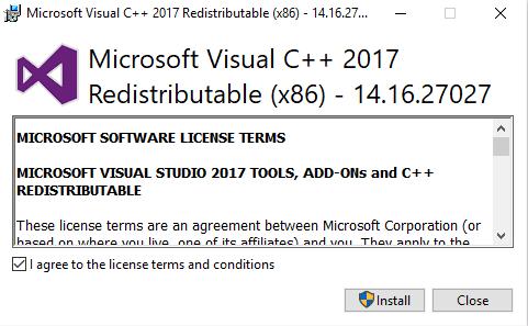 Microsoft Visual C++ 2017 License Terms Screenshot