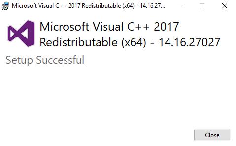 Microsoft Visual C++ 2017 Setup Successful Screenshot