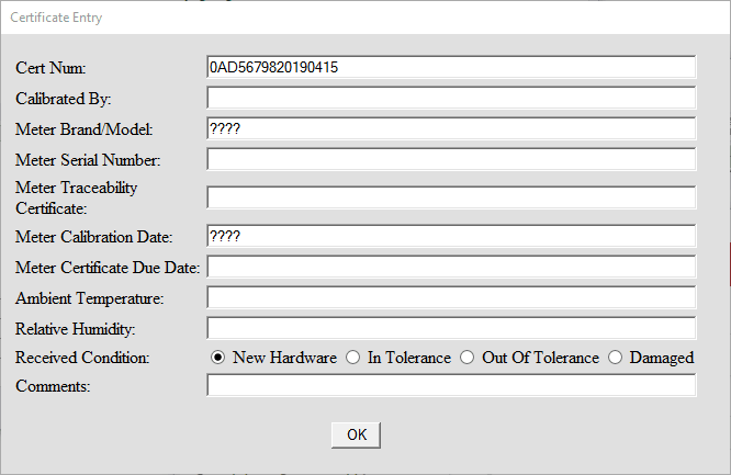 Form without DMM information filled in