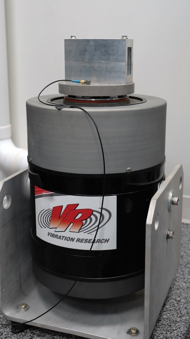 Spectrometer in the fixture, ready for a test