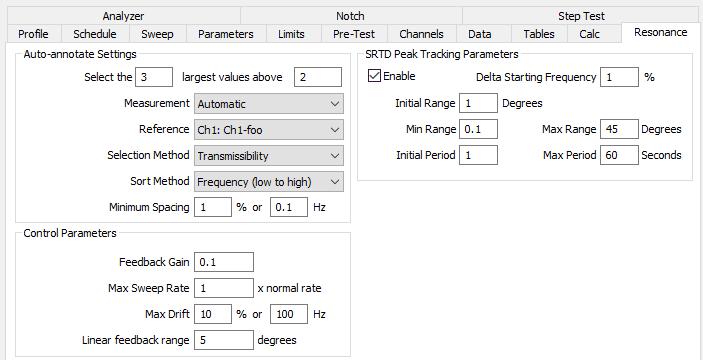 Peak Tracking parameters in VibrationVIEW