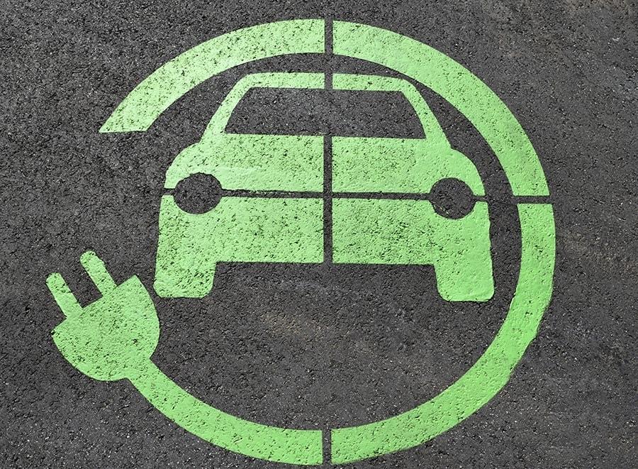 Electric car recharge station pavement stencil