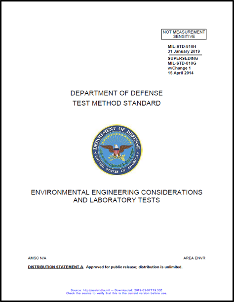 Department of Defense Testing Method Standard Cover