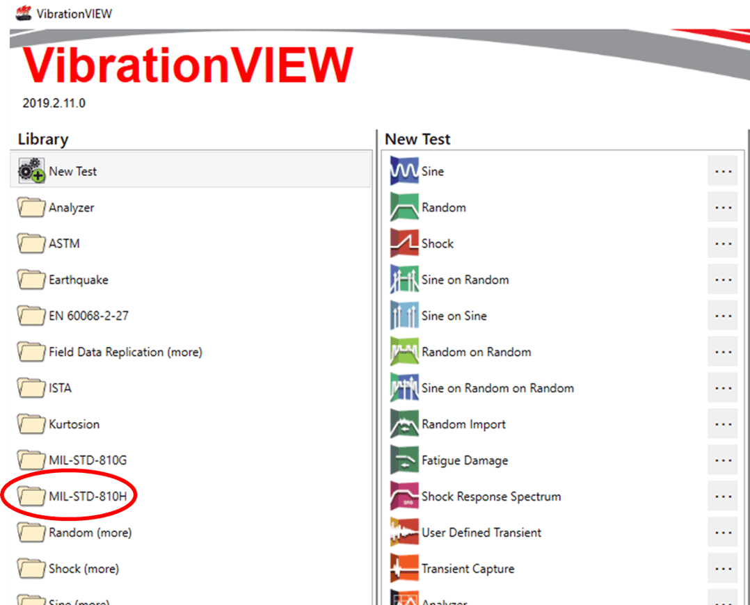 VibrationVIEW MIL-STD-810H folder in Library