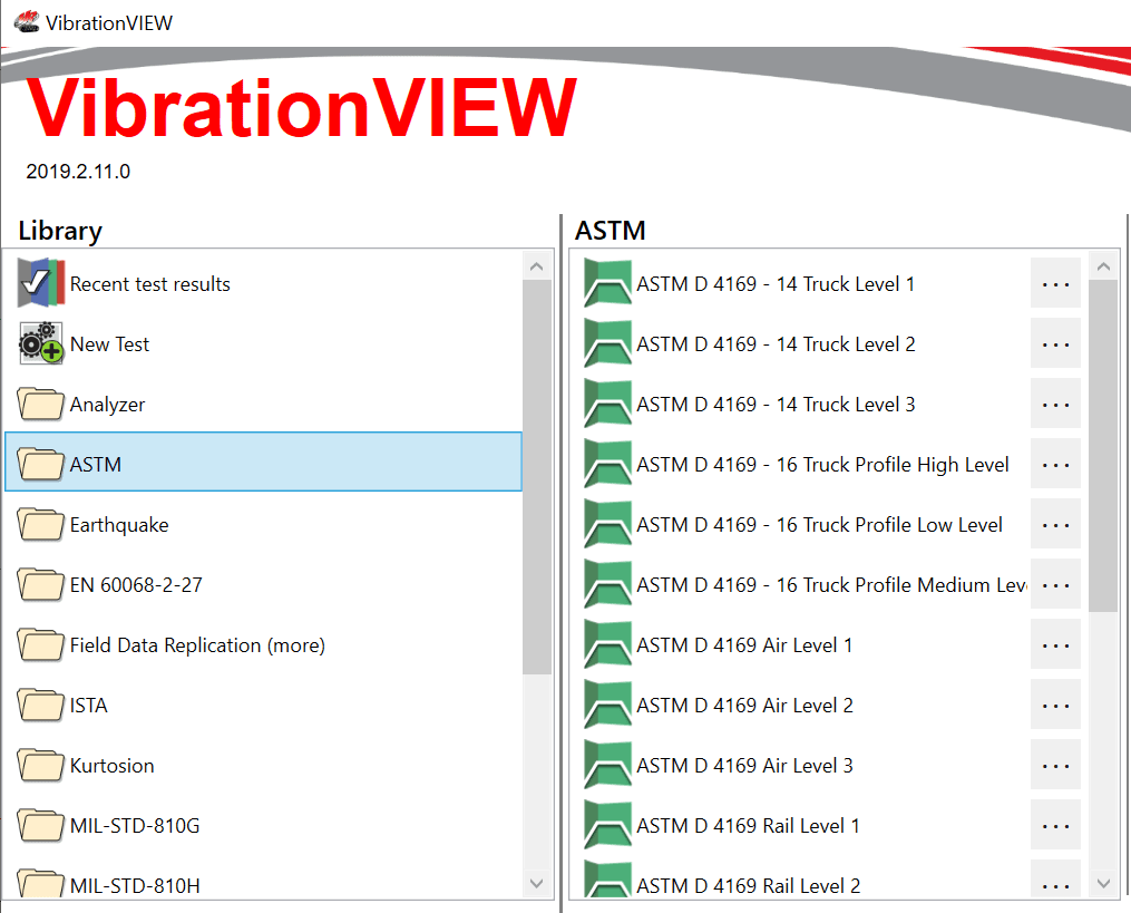 ISTA & ASTM Specifications in VibrationVIEW
