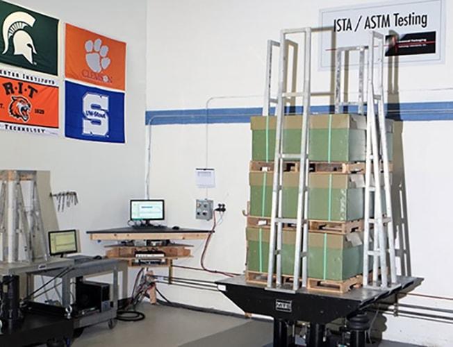 packaging shock test setup