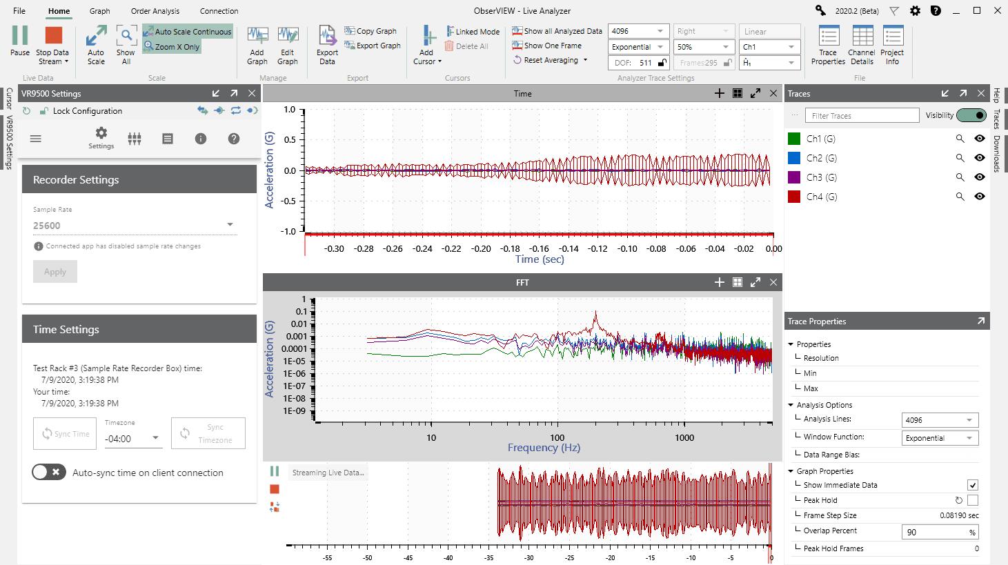 ObserVIEW Live Analyzer software feature screenshot