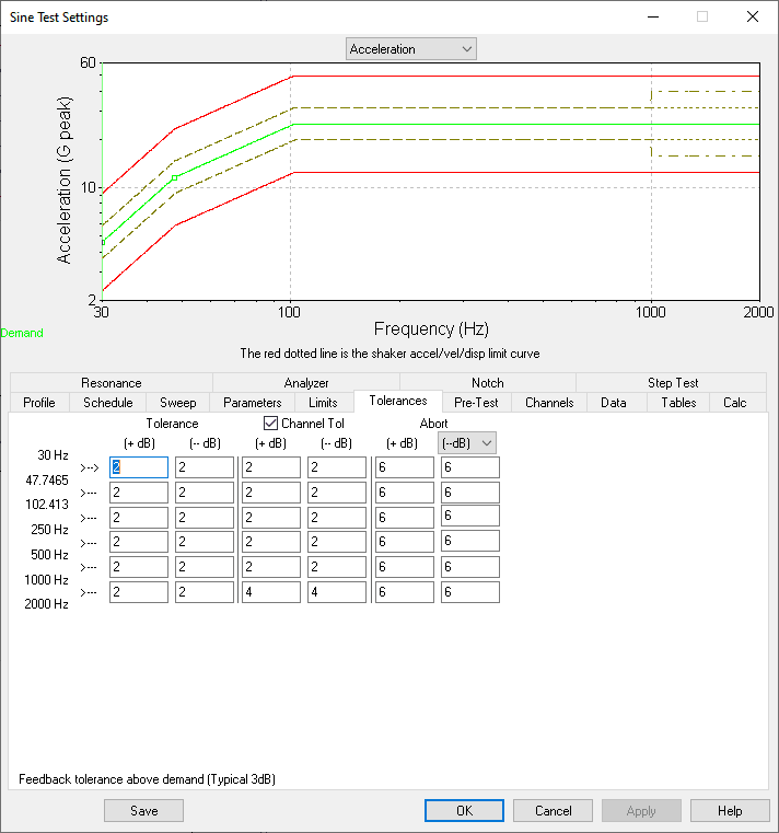Sine test settings Tolerances screenshot