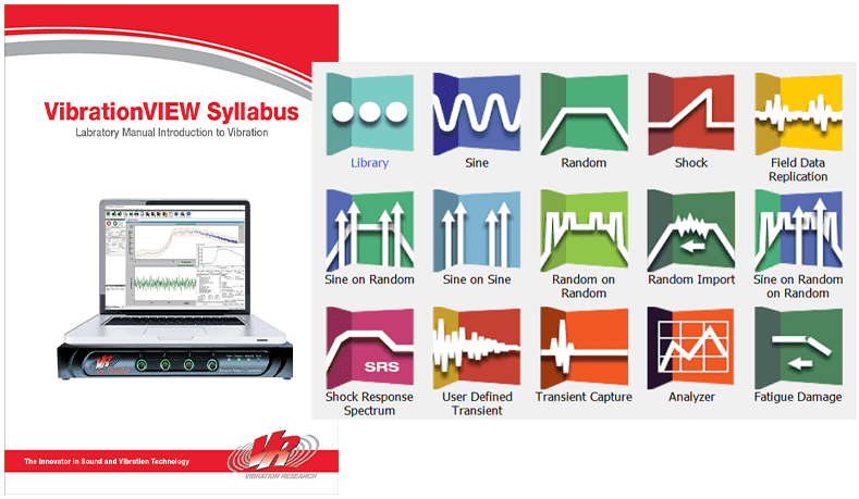 VibrationVIEW Syllabus cover with software modules collage
