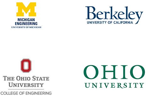 University of Michigan, University of California Berkeley, Ohio State University, Ohio University logos