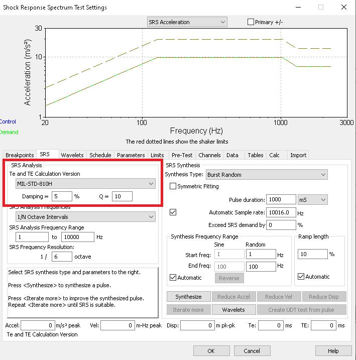 VibrationVIEW SRS Te Calculation