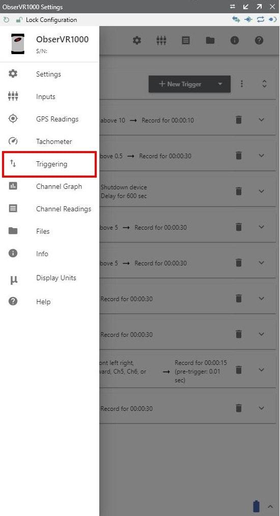 Triggering menu option in VR Mobile