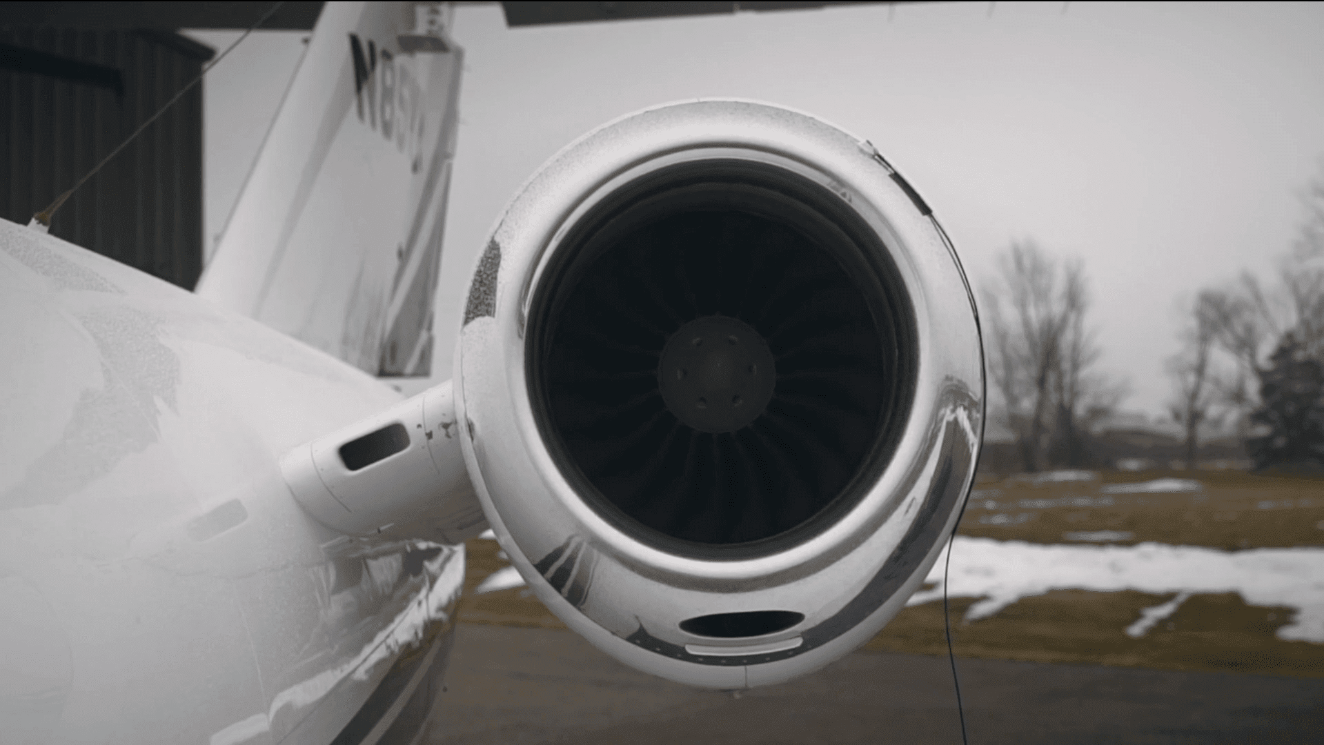 Airplane turbine with sensor attached