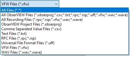 ObserVIEW supported file types