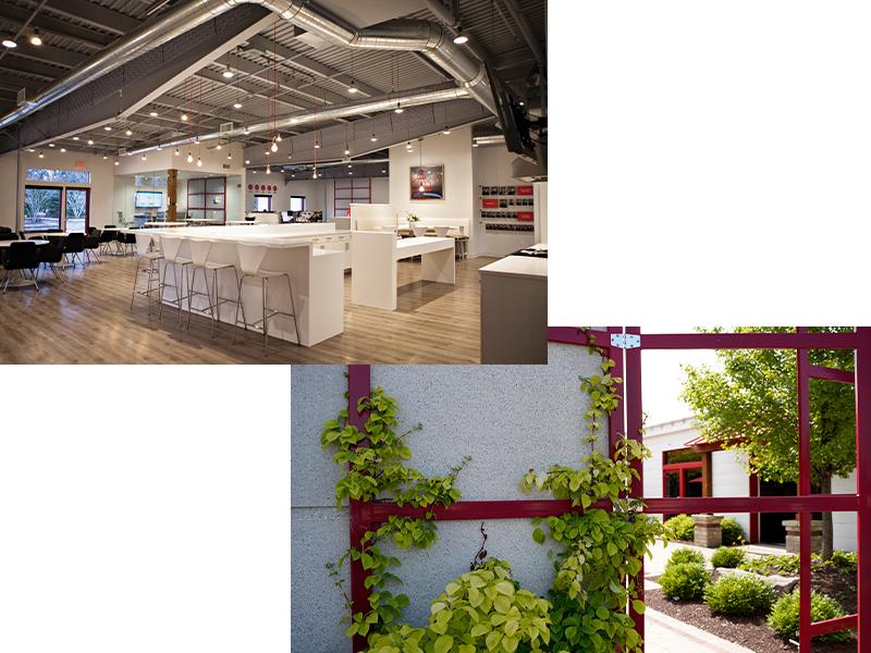 Vibration Research café and patio collage