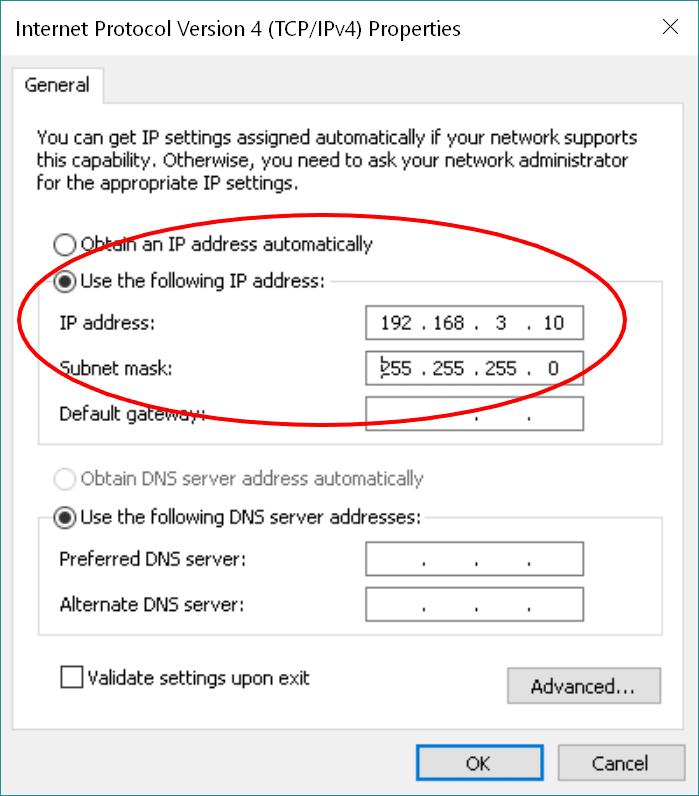 Microsoft Windows IPv4 Properties window with static IP address