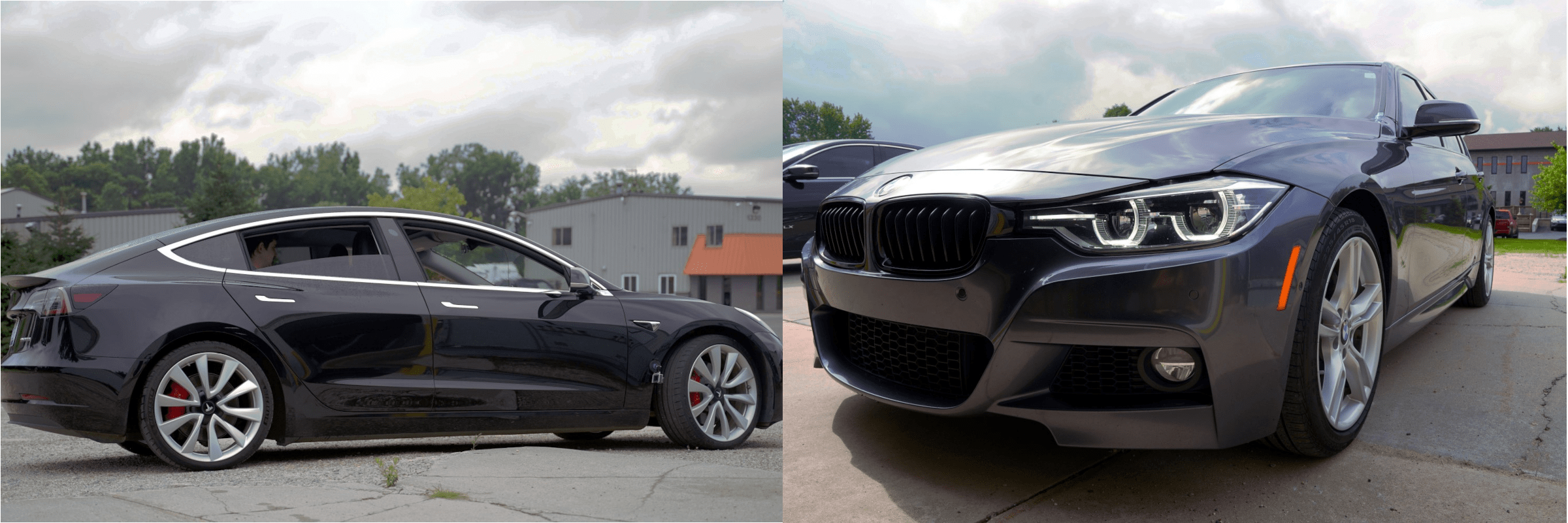 tesla and BMW vehicles side by side
