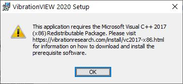 VibrationVIEW Requires Microsoft Visual C++ 2017 (x86) Screenshot