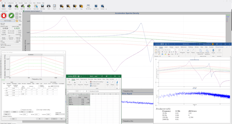 VibrationVIEW screenshot with Microsoft Excel